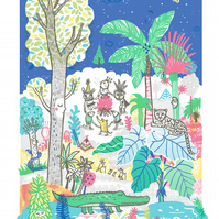 Jungle Story - B2 Original limited edition silk screen prin