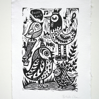 Party time- Original Linocut print