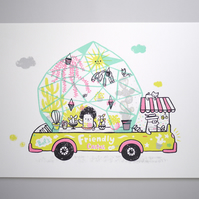 Friendly Cactus Van - A3 Original limited edition silk screen print