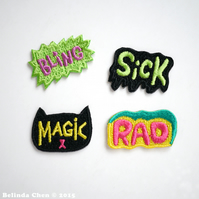 Bling, Cat Magic, Sick and Rad Set of 4 Mini Iron On Patches