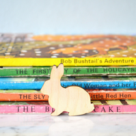 Wooden Bunny Brooch