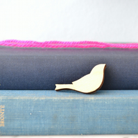 Painted Wooden Bird Brooch - Gold
