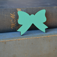 Aqua Painted Bow Brooch