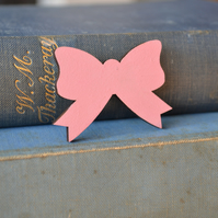 Pink Painted Bow Brooch