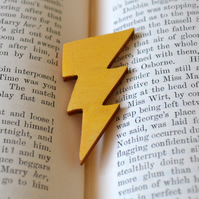 Gold Painted Lightning Bolt Brooch