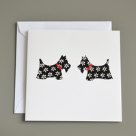 Two Black and White Scottie Dogs Blank Card