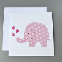 Dotty Pink Elephant with three pink hearts Blank Card