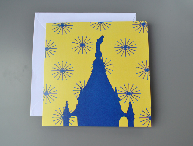 Cabot Tower, Bristol blank card on bright yellow and blue patterned background