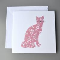 Red cat blank card. Sitting cat silhouette with whiskers.