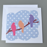 Brightly coloured bird silhouettes on a branch blank card