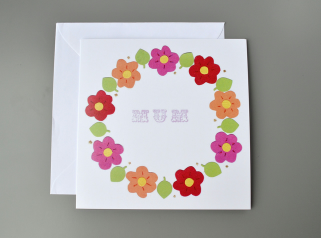 Mother's Day Card with Spring Wreath of Flowers