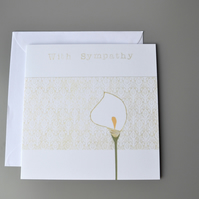 Sympathy Card with Lily and Lace Background
