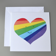 Rainbow heart blank or Valentines card with smiley face