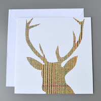 Tweed Stag's Head Silhouette on White Background