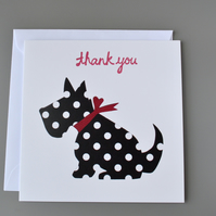 Spotty Black and White Dog with Red Neck Ribbon Thank you Card