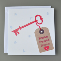 New Home card with red key