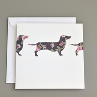 Dark Floral Sausage Dogs Silhouette Blank Card