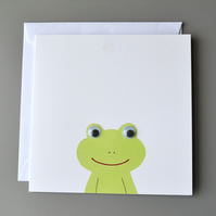 Googly Eyed Frog on White Background Blank Card