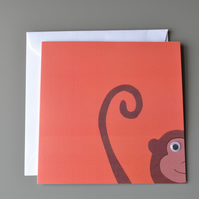 Googly Eyed Monkey on Orange Background Blank Card
