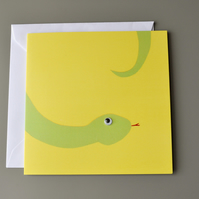 Googly Eyed Snake on Yellow Background Blank Card