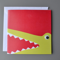 Googly Eyed Snappy Crocodile on Red Background Blank Card