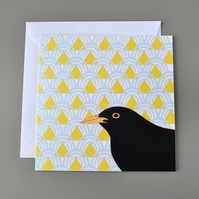Blackbird on patterned background blank card