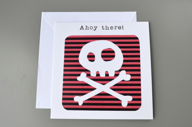 Ahoy There Skull and Crossbones on Red and Black Striped Background Blank Card