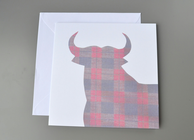 SALE - Blank card with silhouette of bull in tartan