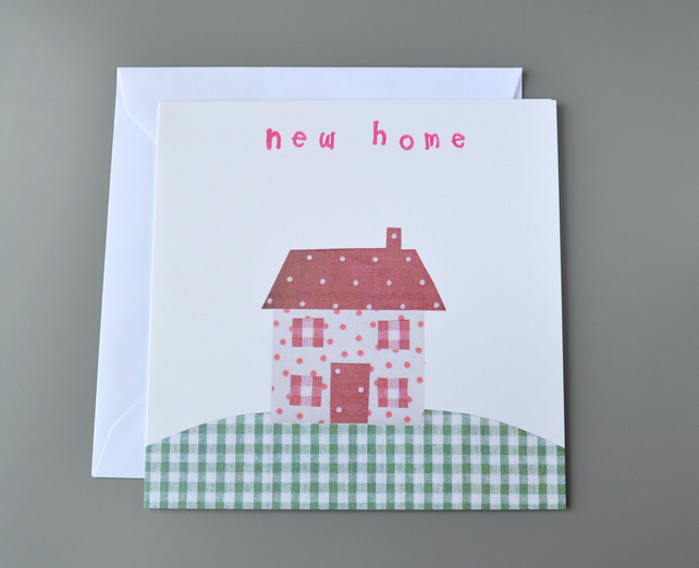 SALE - New Home Card with Fabric Cottage