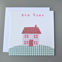 New Home Card with Fabric Cottage