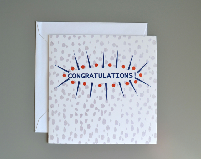 Congratulations card with a taupe dalmatian spot background