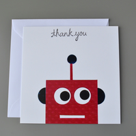SALE - Red Robot Thank you Card