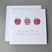 Three Red Apples Get Well Soon Card
