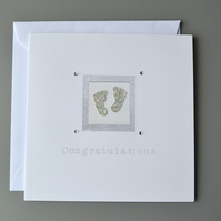 Baby or Pregnancy Congratulations Card with 3D silver baby feet and diamantes