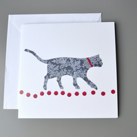 Walking Cat on Red Circles blank card