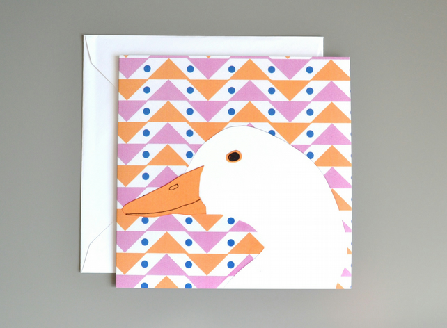 Goose blank card with geometric patterned background