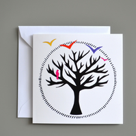 Winter Tree Silhouette Blank Card with Brightly Coloured Birds