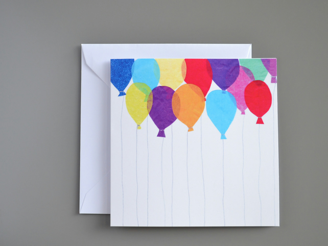 Bright Balloons Blank or Birthday or Celebration Card