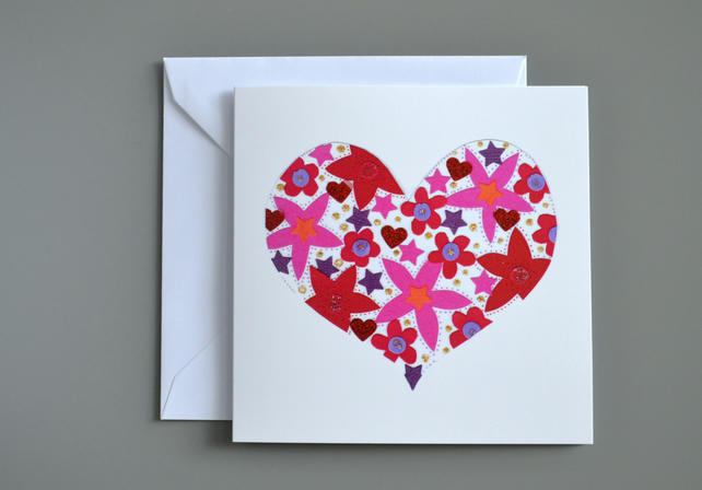 Floral Heart  Anniversary or Valentines or Blank card