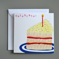 Slice of Cake Celebration or Birthday Card