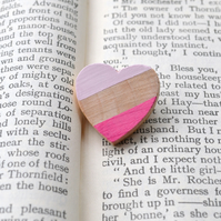 Wooden Heart Brooch Handpainted in Pinks