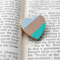 Wooden Heart Brooch Handpainted in Greens