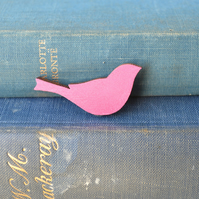 Painted Wooden Bird Brooch - Pink