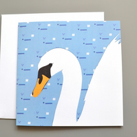 Swan blank or birthday card with patterned background