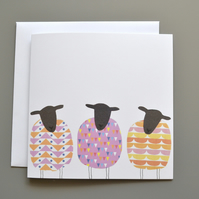 Three Patterned Sheep Blank or Birthday Card
