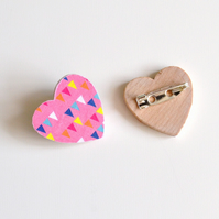 Pink Heart Brooch with Triangle Pattern