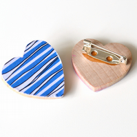 Heart Brooch with Blue Wavy Lines Pattern
