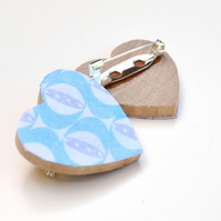 Heart Brooch with Light Blue and Grey Pattern