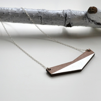 Wooden Chevron Contemporary  Necklace with Silver Leaf (long chain)