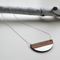 Wooden Semi Circle Contemporary  Necklace with Silver Leaf